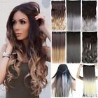 Premium Thick Clip-in Dip Dye Ombre 1/8Pc Set Full Head Hair Extensions Curly Fn