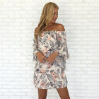 New Ladies Women Summer Cocktail Party Casual Hot 3/4 Sleeve Hollow Print Dress