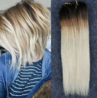 """10"""" Short Ombre Hairpieces Clip in Human Hair Extensions Full Head 6pcs Pack"""
