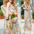 Summer Flower Embroidery Floral Fomal Evening Party Maxi Cocktail Long Dress New