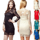 New Fashion Ladies Lace Bodycon Long Sleeve Summer Evening Party Mini Dress
