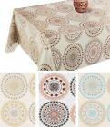 PVC TABLE CLOTH MOROCCO ETHNIC CIRCLES DOTS GEO FLOWER STAR SWIRL WIPE ABLE