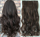 """20"""" Long Curly Wavy One Piece Clip in Hair Extensions Hairpieces Black Brown"""