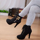 Fashion Womens Lace Up Platform High Heel Shoes Party Buckle Ankle Martin Boots