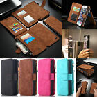 For Apple iPhone 7 Plus 6S Leather Removable Wallet Case Magnet Flip Card Cover