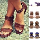Hot Women Vintage Solid Color Sandals Round Toe Flat Beach Shoes Leather Shoes