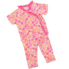 Baby Lulu Girls Pink Floral Print Side Tie Tee Cotton 2 Pcs Outfit Set 0-9M