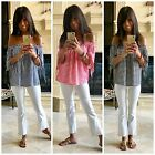 Gingham Check Print Off Shoulder Flowy Woven Summer Top Red Navy Black White S-L