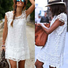 Hot Women Casual White Lace Sleeveless Beach Short Dress Tassel Mini Dress Party