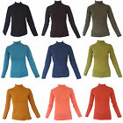 Ladies Womens Basic Long Sleeve Turtle Neck Jersey Top Made In Turkey
