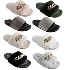 WOMENS LADIES GIRLS FAUX FUR NEW CHAIN RUBBER SLIDERS DIAMONTE METALLIC MULES