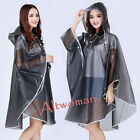 Fashion Women Raincoat Translucence Waterproof Clear Hood Cape Poncho Rainwear