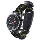 Multifunction Tool Outdoor Camping Nylon Bracelet Watch With Compass Thermometer