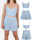 Womens Sexy Linen Lace up Eyelet Co-Ord Twin Set Crop Top and Shorts Summer set
