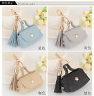 Bag Charm Leather Tassel Handbag coin holder lady purse wallet Key chain Ring