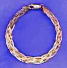 Beautiful Delicate Vintage Sterling Silver W/Gold Plated Strands Woven Bracelet