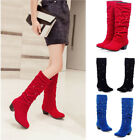 Women National style Diamond Knee high Boots Suede Shoes Low Heel Rhinestone