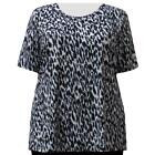A Personal Touch Women's Plus Size Gray Leopard Top
