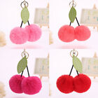Cherry Faux Pom pom Ball Keychain Key Ring Bag Charm Girls Women Accessories FU8