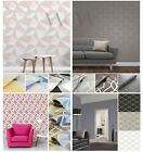 GEOMETRIC WALLPAPER VARIOUS COLOURS AND DESIGNS GREY ROSE GOLD FEATURE WALL NEW