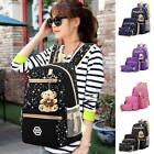 Fashion Women Girl Travel Canvas Rucksack Backpack School Shoulder Bag 3pcs Set