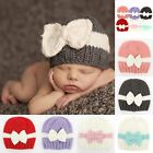 US Newborn Toddler Baby Boy Girl Winter Warm Hat Cap Bowknot Knit Crochet Beanie