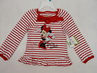 Disney Baby Tunic Top Minnie Mouse Red Stripe Long Sleeve Sequined 4T #4081