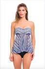 NWT Profile by Gottex Ixtapa Bandeau Flyaway Mesh Tankini Top Swimsuit Women's