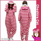 Cheshire Cat Cosplay Kigurumi Adults Winter Sleepwear One-Piece Pajamas Overalls