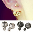 Woman Double Sides Hollowed Gold Plated Ball Ear Studs Delicate Party Jewelry