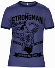 TATTOO STRONGMAN BODYBUILDER GYM ROCKABILLY STYLE MEN RINGER T SHIRT INKED