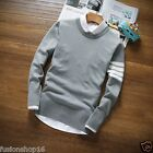 New! Men's O-Neck Knittin T-Shirt (With Attached Collar) Gray