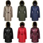 New Ladies Shiny Wet Look Women's Belted Long Quilted Fur Hooded Jacket Coat