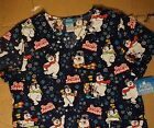 Frosty the Snowman Christmas Printed S/S Scrubs V Neck T Shirt Top UnSx XS-3X Nw