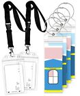 Premium Narrow Cruise Luggage Tag Holder w/ Zip Seal Steel Loop Cord Durable PVC