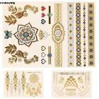 gold body tattoo jewelry - Metallic Tattoo Gold Silver Temporary Jewelry Body Art Stickers Sheets