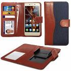 For alcatel Pop D5 - Clip On Fabric / PU Leather Wallet Case Cover