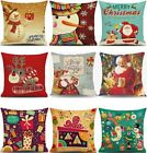 Christmas Xmas Linen Cushion Cover Throw Pillow Case Home Decor Festive Gift 60