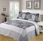 MARIE BEDSPREAD SET QUILTED THROW OVER PATCHWORK FLOWER PAISLEY LACE BLACK NAVY