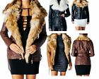 Ladies Womens Faux Fur Collar PU Leather Look Mid Length Belted Jacket Coat 8-14