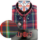 Warrior OiOi7 Short Sleeve Button Down Shirt PISTOLS Mod Skinhead Red Blue SMALL