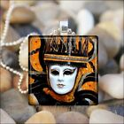 """KING CROWN MASK"" DRAMA THEATER MARDI GRAS MASK GLASS PENDANT NECKLACE KEYRING"