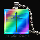 """RAINBOW DRAGONFLY"" BUTTERFLY LADYBUG GLASS TILE PENDANT NECKLACE KEYCHAIN"