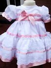"DREAM GIRLS 0-3 MONTHS X FRILLY WHITE PINK HEARTS NETTED DRESS OR 20-24"" REBORN"