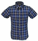 Brutus Trimfit Navy Checked Short Sleeved Vintage Retro mod Button Down shirts
