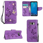 Luxury Diamonds Crystal Leather Flip Wallet Case Cover For Samsung Galaxy Phones