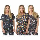 Womens Halloween Pumpkin Skull Web Print Turn Up Sleeve Baggy T-Shirt Top 8-26