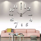 US Stock Analog 3D Mirror Surface Large Number Wall Clock Sticker Home Decor BM