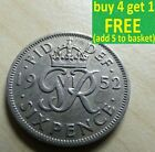 George VI Sixpence 6D Silver/ Cupro-Nickel Coins Choose your date 1937-1952