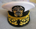 US NAVY COMMANDER ADMIRAL RANK WHITE HAT CAP AUTHENTIC NEW ALL SIZES - CP MADE